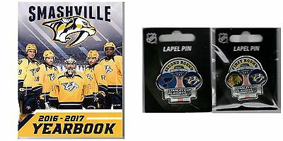 Nashville Predators Yearbook & Two Pin Combo 1St/2Nd Round Stanley Cup Champs