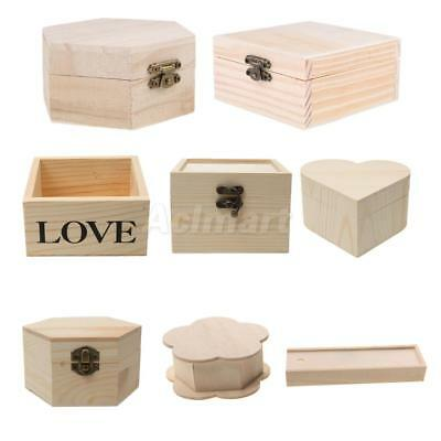 Many Style Unfinished Wood Box Jewelry Gift Boxes Kids Toys DIY Craft Woodcrafts