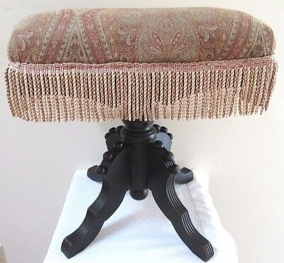 Rare Antique Victorian Eastlake Wooden Vanity Piano Stool Swivel Ornate Carved