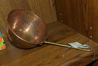 Large Vintage  Copper Strainer Ladle with Hand Forged Brass Handle