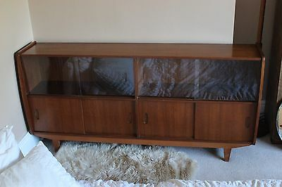 teak sideboard glass sliding door cabinet retro 1970s mid century