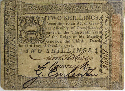 1773 Pennsylvania 2 Shilling Colonial Currency Lot 271