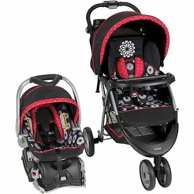 Baby Stroller For Girls And Car Seat Combo Travel System Black White Mum Print