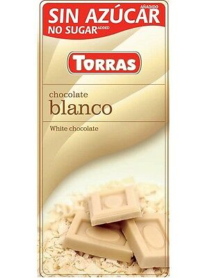 Torras No Sugar Added White Chocolate, Low Carb