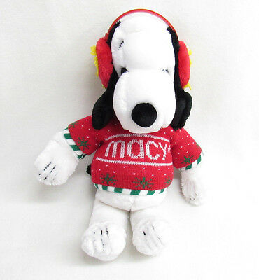 Vintage Peanuts Snoopy Macys Christmas Plush Woodstock Ear Muffs Sweater 1972