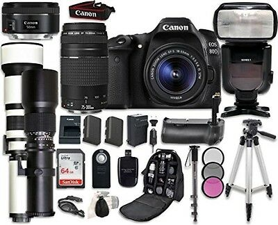Canon EOS 80D Digital SLR Camera Bundle with Canon EF-S 18-55mm f/3.5-5.6 IS STM