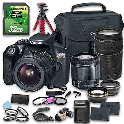 Canon EOS T6 DSLR Camera (Wi-Fi) Bundle with Canon 18-55mm Lens + 75-300mm Lens