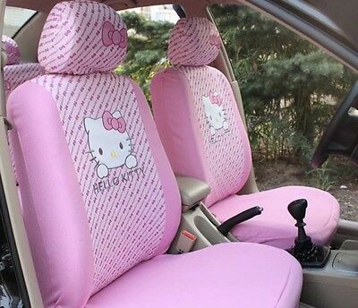 NEW 6Pcs Light Pink Hello Kitty Car Seat Cover Front Interior Accessories
