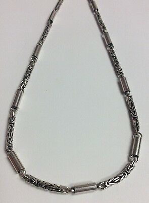 """REAL STERLING SILVER Byzantine & Tube Link Design Long 30"""" NECKLACE 41.6g"""