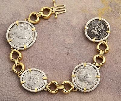 Ancient Roman Four Coin Bracelet Silver Denarius in 14kt Solid Gold & S/S