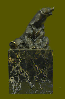 Signed Sitting Polar Bear Bronze Bookends Book End Deco Marble Sculpture Statue