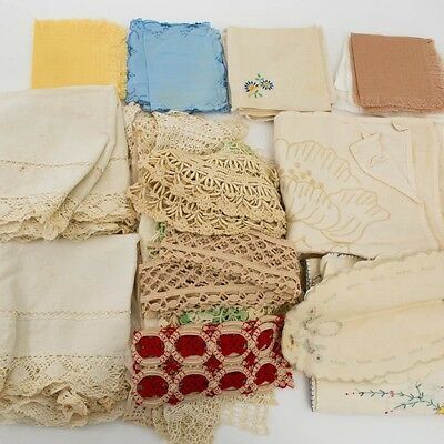Mixed Vintage Lot 48 Hand Crocheted/Embroidered Doilies, Napkins, Runners + More