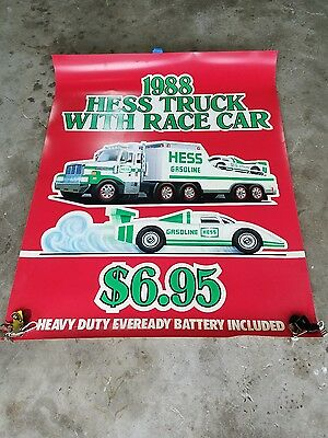 Hess 1988 Toy Truck With Racecar Vertical Promotional Poster 58X46 Advertisement