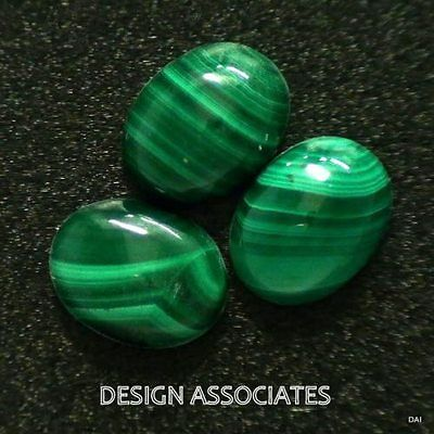 Malachite Cabochon 8 X 6 Mm Oval Cut Great Green Color All Natural 2 Piece Set