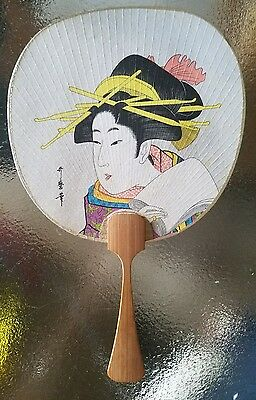 Antique Japanese Uchiwa Fan Gueisha signed by artist hand painted paper bamboo