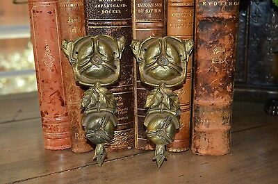 Antique French Bronze Small Pair of Pediments Cabbage Rose Design