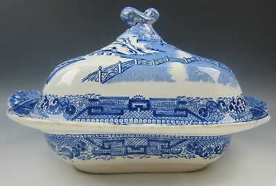 """Ridgway China WILLOW-BLUE 10"""" Square Covered Vegetable Bowl VERY GOOD"""