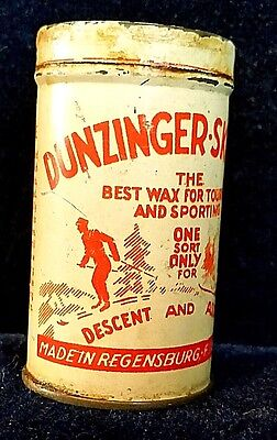 """VINTAGE SKI WAX TIN """"DUNZINGER-SKI-WAX"""" Best wax for touring and sporting"""