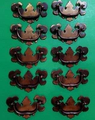 ⭐ Lot/set Of 10 Vintage~Metal Chippendale Drawer Pull Handles ⭐