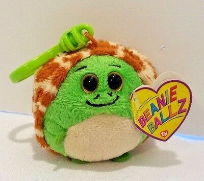 has Tag Key Clip ~ 2.5 inch Ty Beanie Baby Ballz ~ ZOOM the Turtle