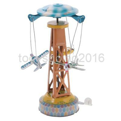 Wind Up Spining Plane Tower Clockwork Tin Toy Collectible Kids Children Gift