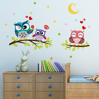 Lovely Owl Family Vinyl Wall Sticker Kids Bedroom Nursery Removable Decal