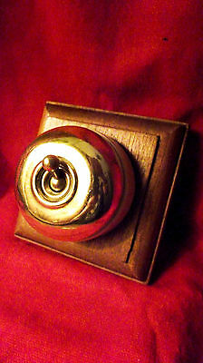 "Vintage Light Switch ""Crabtree"" Ceramic and Brass Original Wooden Mounting"