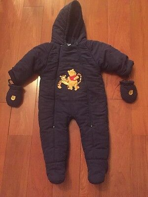 Infant Boys 12 Month Navy Blue Zip Up Hooded Snow Suit Gloves Winnie The Pooh