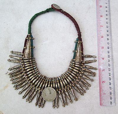 Old Nepal Tharu Silver & Brass Necklace Antique Indian Coin