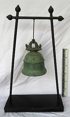 SUPERP 18th.c MANDALAY Bronze Buddhist Temple Bell & Free Stand