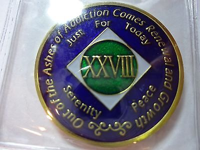 NA Tri-Plate Narcotics Anonymous Blue Green & Gold Coin 28 Year Medallion