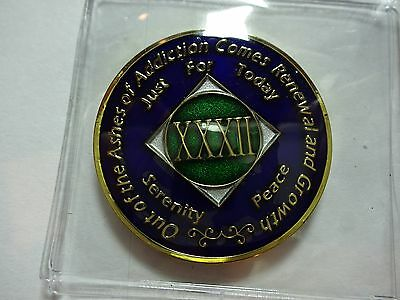 NA Tri-Plate Narcotics Anonymous Blue Green & Gold Coin 32 Year Medallion