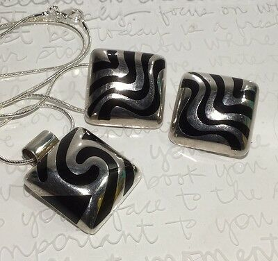 """Taxco Set Onyx Inlay 925SS Squares Swirl Pendant 19"""" Necklace Wave Clip Earrings"""