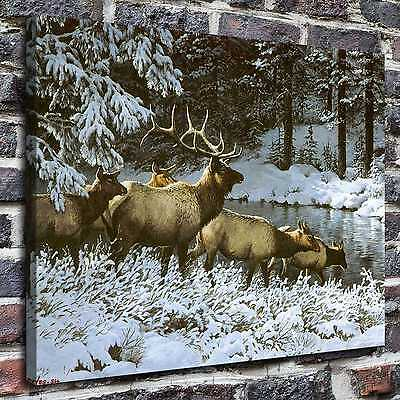 """12""""x16""""Deer in winter Paintings HD Print on Canvas Home Decor Wall Art Pictures"""