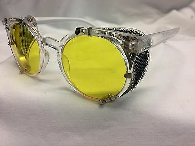 Crystal Clear Eyeglasses / Yellow Detachabl American Optical Safety Side Shields