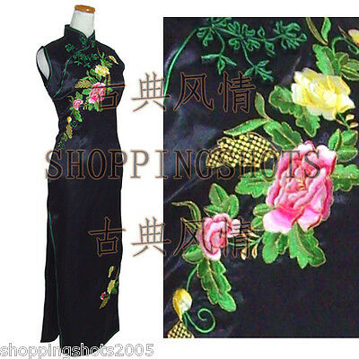 Embroidered peony Chinese clothing qipao sleeveless dress gown 090319 3-colors