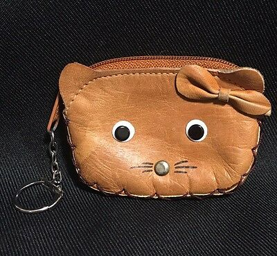Vintage Leather Kitty Cat Coin Purse With Key Ring