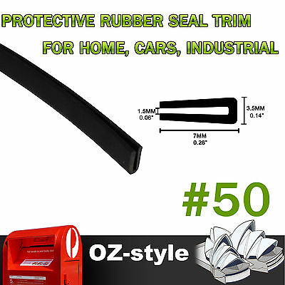 7mm x 3.5mm Black Home Industrial Window Door Edging Edge Rubber Seal Strips 20M