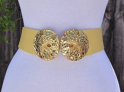 """Vtg. Dotty Smith Gold Tone Metal Double Star Fish Buckle w/2""""faux. Leather Belt"""