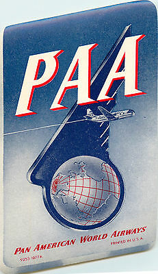 PAN AMERICAN AIRWAYS / PAA - Great Old Airline Luggage Label, c. 1955