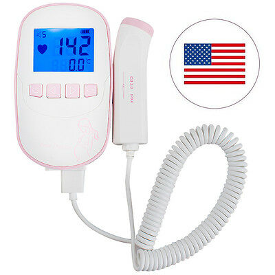 Fetal Doppler 2M Probe LCD Ultrasound Prenatal Baby Heart Rate Monitor