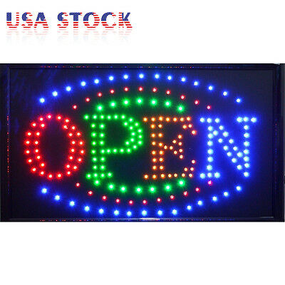 "Large Bright Animated Motion Flashing Business LED Open Sign w/ Switch 21"" X13"""