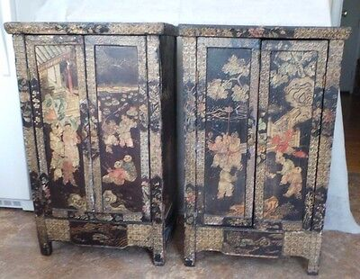 Antique Chinese Pair Of End Tables Night Stands