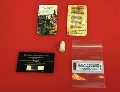 1) .54 or .58 Dropped Civil War Relic Bullet from Gettysburg, PA with COA