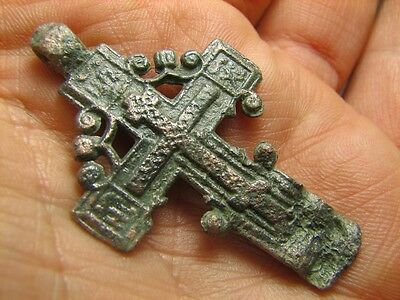 Late Medieval Period Big Bronze Cross Pendant.100% Wearable Artifact! #5995