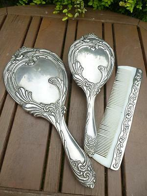 Art Nouveau Silver Plated Heavy Hairbrush Set Includes Mirror