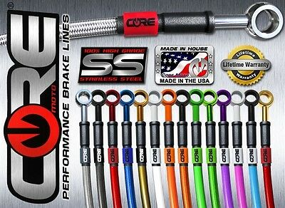 Core Moto Custom Stainless Steel Braided Brake Line Kit Made In The Usa!