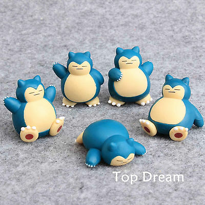 5X Snorlax Pokemon Action Figure Cute PVC Doll Toy Cake Topper Collectible Gift