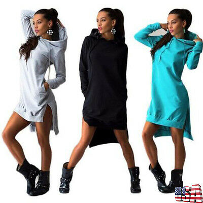 Women Long Sleevele Hooded Sweatshirt Pocket Sport Jumper Pullover Tunic Dress