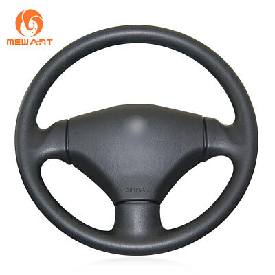 DIY Soft Black Artificial Leather Steering Wheel Cover for Peugeot 206 2003-2006